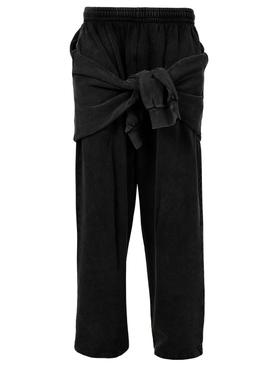 Hybrid Knotted Sweatpants, BLACK