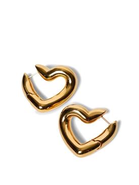 SHINY GOLD-TONE LOOP HEART EARRINGS