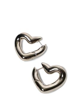 SHINY SILVER-TONE LOOP HEART EARRINGS