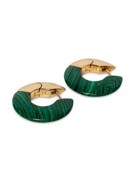 Green Malachite hoop earrings