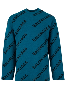 Multi Logo wool sweater petrol blue