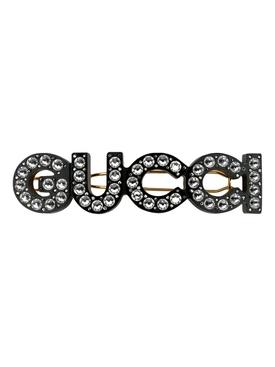 Crystal Logo Hair Clip Silver