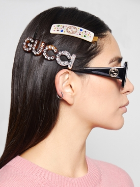 GG Embellished Hairclip Brown