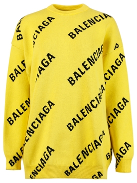 Yellow and Black Logo Print Sweater