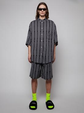 Striped logo pajama shorts, black and grey