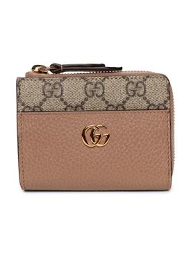 monogram gold tone logo zip wallet neutral rose