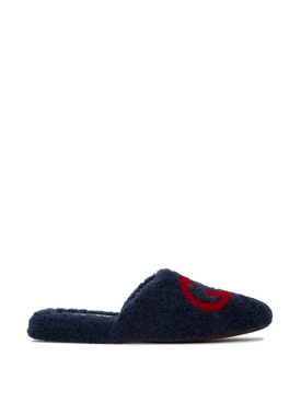 Merino Wool Interlocking G Slipper Agatha Blue and Red