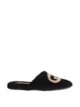 Merino Wool Interlocking G Slipper Black and Butterscotch