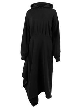EASY WRAP HOODED DRESS, BLACK