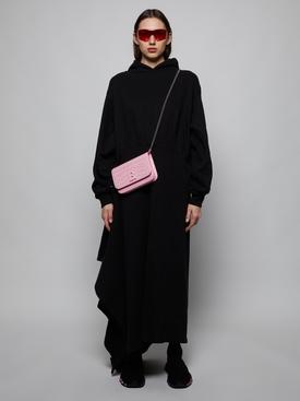 EASY WRAP HOODED DRESS, BLACK