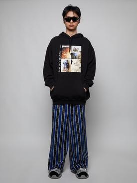 Black and blue striped pajama pants