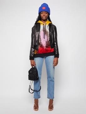 Classic Leather Bomber Jacket Black