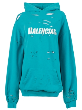 CAPS DESTROYED LOGO HOODIE, TURQUOISE AND WHITE