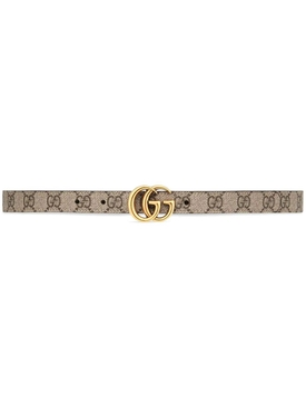 GG Marmont Reversible Thin Belt Neutral and Brown