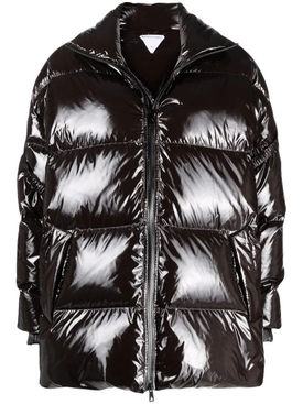 PATENT PUFFER JACKET COCOA BROWN