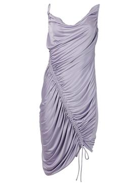 Technical satin jersey dress, lilac