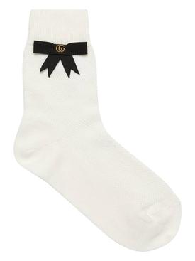 GG Bow Ankle Socks White
