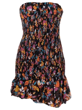 STRAPLESS SMOCKED FLORAL MINI DRESS
