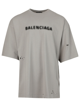 Oversized Distressed Blurry Logo T-shirt Steel Grey