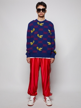 X Freya Hartas GG Animal Wool Sweater Ink Blue