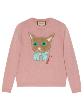 WOOL CAT PATCH SWEATER ANTIQUE ROSE