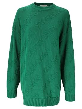 Tonal Logo Crewneck Sweater Green