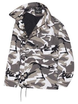 Off-Shoulder Camo-print Military Parka Grey