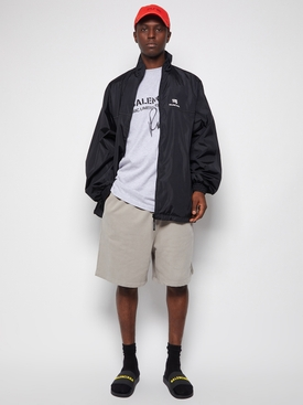 Classic Nylon Track Jacket Black and White