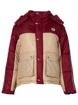 GG Parachute Puffer Jacket Lava Red and Beige