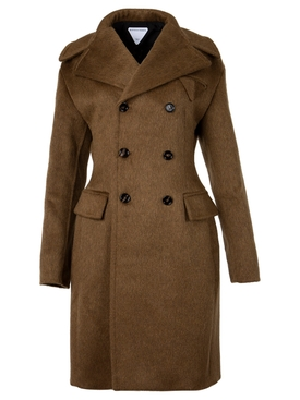 DOUBLE-BREASTED COAT COCONUT BROWN