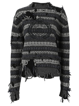 Destroyed Knit Sweater Grey