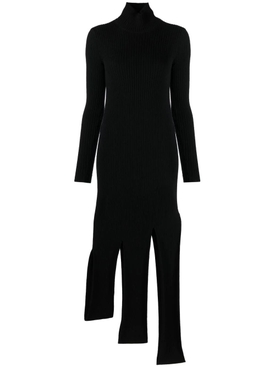 HIGH-NECK FRINGE DRESS BLACK