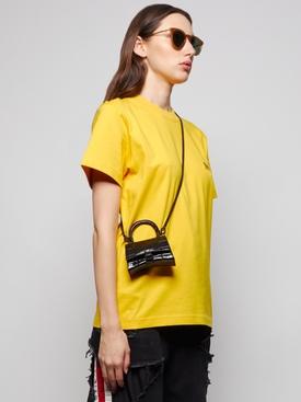 Croc-embossed Nano Hourglass Bag Black