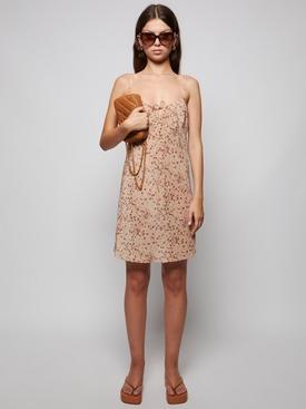 Silk Nude Rose Mini Dress