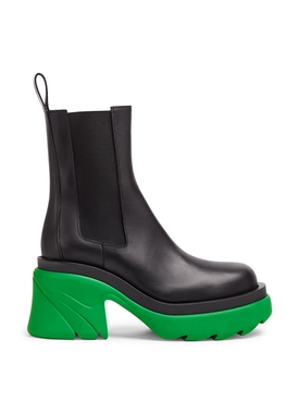 ANKLE BOOT CALFSKIN BLACK AND GRASS