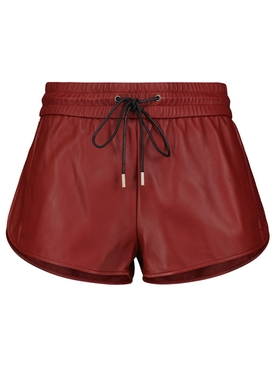 LAMBSKIN LEATHER BOXING SHORTS TOMATO RED