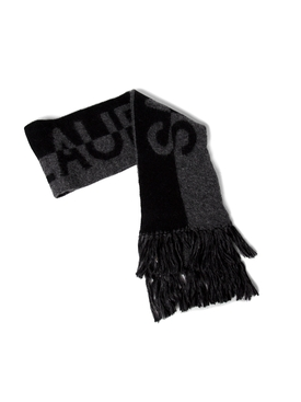WOOL KNIT SIGNATURE SCARF BLACK AND GREY