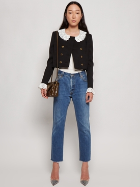 CROPPED FLORAL LACE COLLAR JACKET BLACK AND WHITE