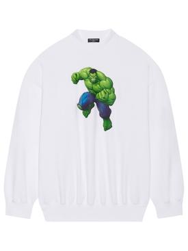 X Hulk Oversized Crewneck Sweatshirt White