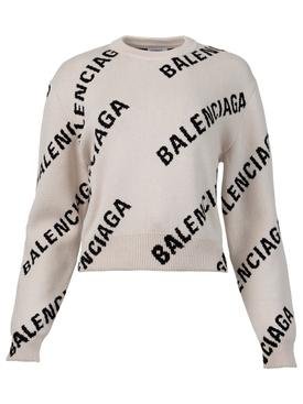 Allover Logo Crewneck Chalky White and Black