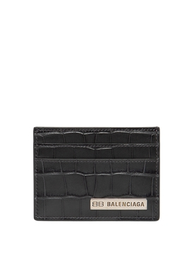 Croc-embossed Plate Card Holder Dark Grey
