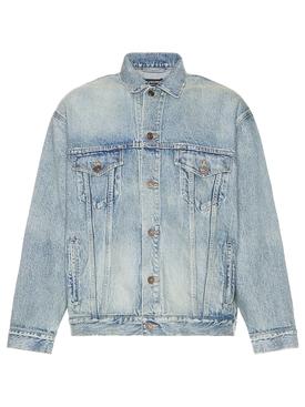 Large Fit Jacket Washed Light Blue