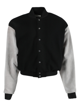 Black and grey panel bomber jacket