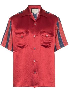 Chain print silk bowling shirt RED