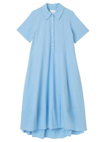 Bamford Tulip Short-sleeve Shirt Dress, Blue