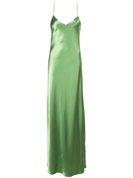 Green v-neck slip dress