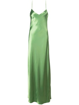 Galvan - Green V-neck Slip Dress - Gowns