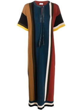 Colorblock stripe shirt dress