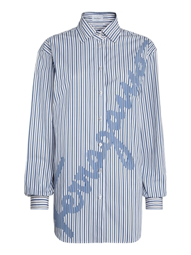 Blue Striped Logo Print Shirt