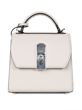 WHITE LEATHER BOXYZ HANDBAG